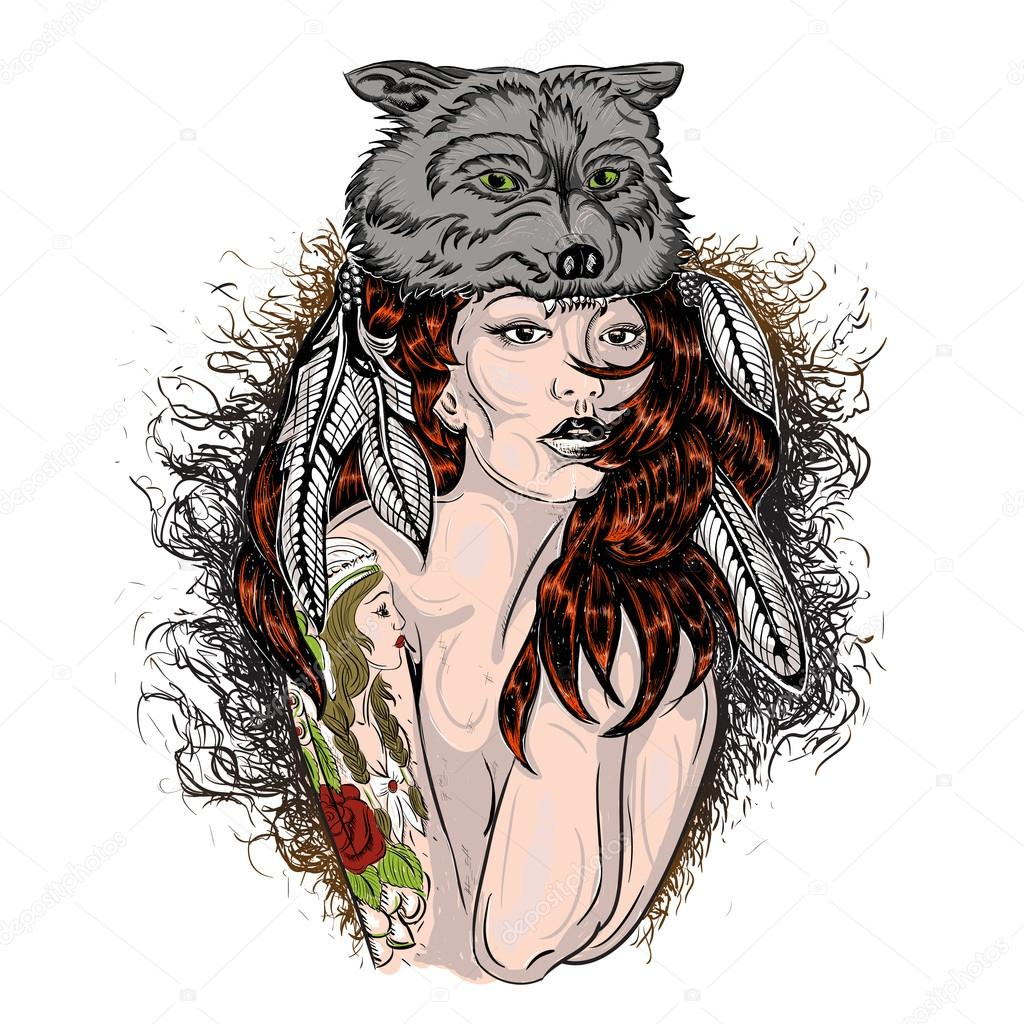 Mujer Loba Dibujo Cara Pintada Mujer Indígena Con Piel De