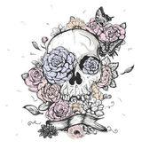 koponya és virágok vektoros illusztráció a halottak napja