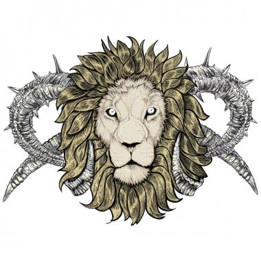 Sketch of tattoo lion with horns