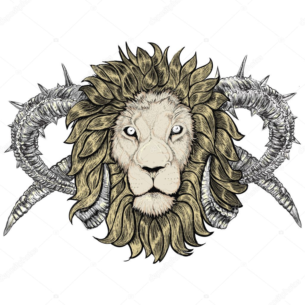 desenho de leão de tatuagem com chifres vetor de stock