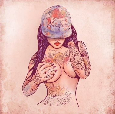Casual girl in a cap and tattoos