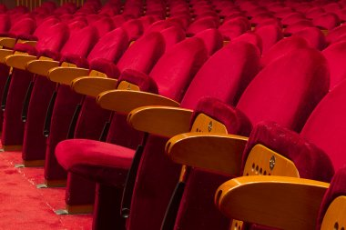 Empty red seats for cinema, theater, conference or concert stock vector