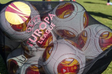 Europa League balls in net during Paok training