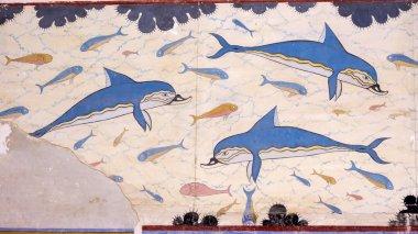 Fresco on a wall of the Knossky palace. Crete, Greece.