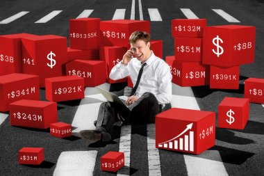 Confident and successful stock broker sitting on the road and sp