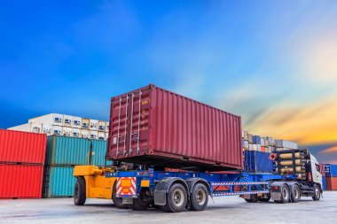 Forklift handling containers box
