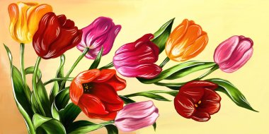 Tulips digital hand drawn in oil style. Set of different colorful red, yellow, orange tulips with green leaves on yellow background. Spring illustration good for banners, postcards, for woman day 8 march.