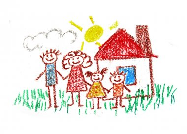 Happy family. Kids drawings