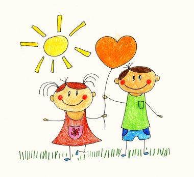 Happy people. Kids drawings