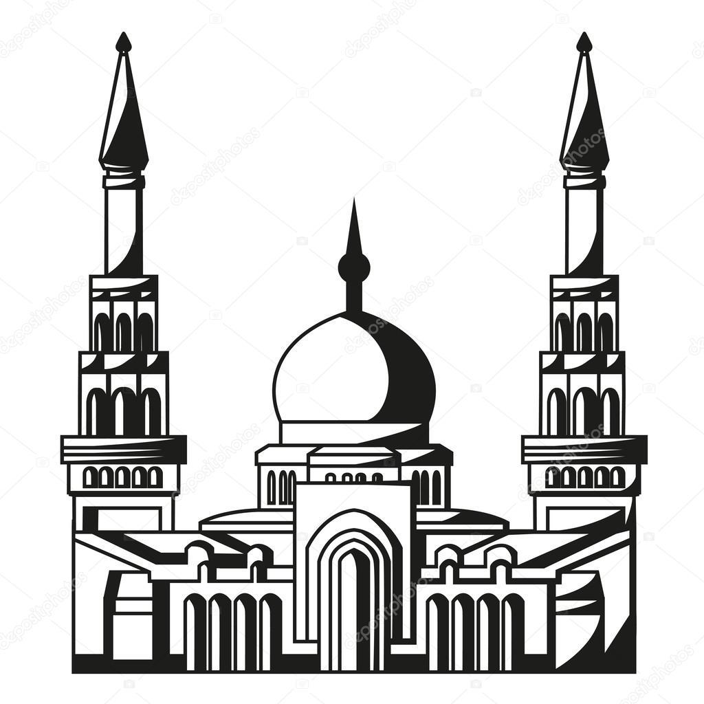 Symbol Of Islam Silhouette Of Mosque Ramadan Stock Vector