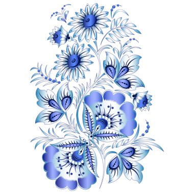 Russian national floral pattern in style Gzhel (a flowers of Russian ceramics, painted with blue on white).