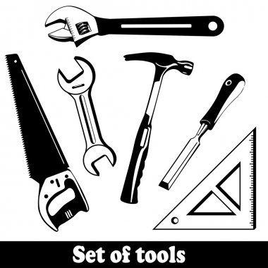 Building tools isolated vector set. Hand Tools (instruments) Kit