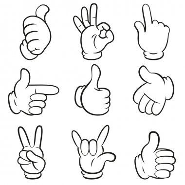 Set of gestures. Hands symbols (signals) collection. Cartoon style. Isolated on white background. Vector illustration