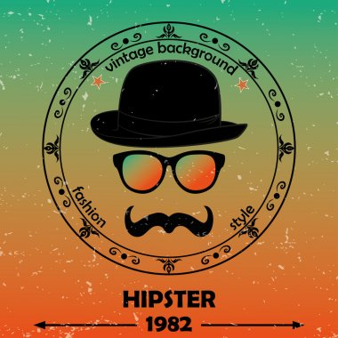 Hipster vector background. Retro vintage label design. Hipster theme label, card. Mustache, Glasses and Bowler Hat. Baroque ornaments and floral details. Colorful.