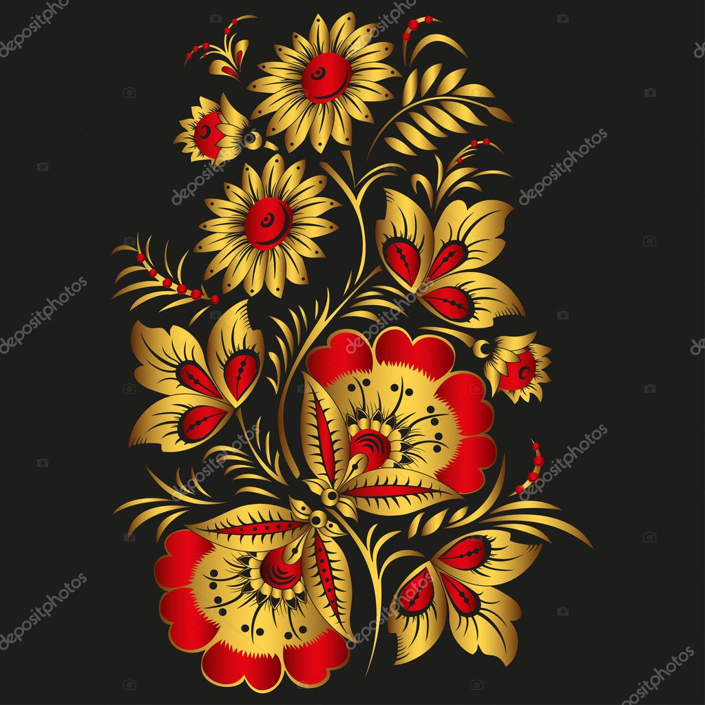 Floral vector background in traditional Russian Khokhloma style. Yellow and red flowers
