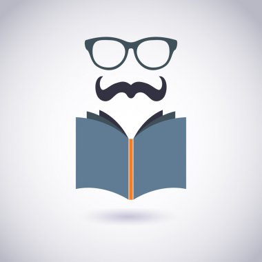 Book icon with Glasses and Mustache. Hipster style. Vector Illustration