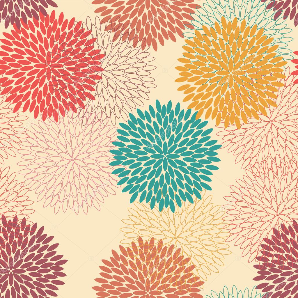 Seamless flower pattern in retro style
