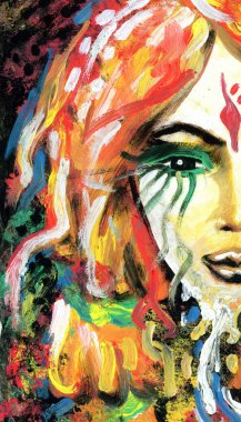 Abstract rainbow painted background with woman's eye