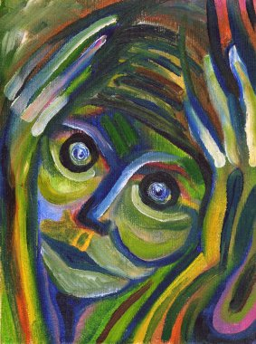 Closeup portrait of really stressed out person