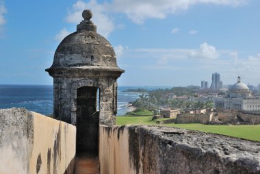 Fort watchtower on a background of blue sky. San Juan, Puerto Rico