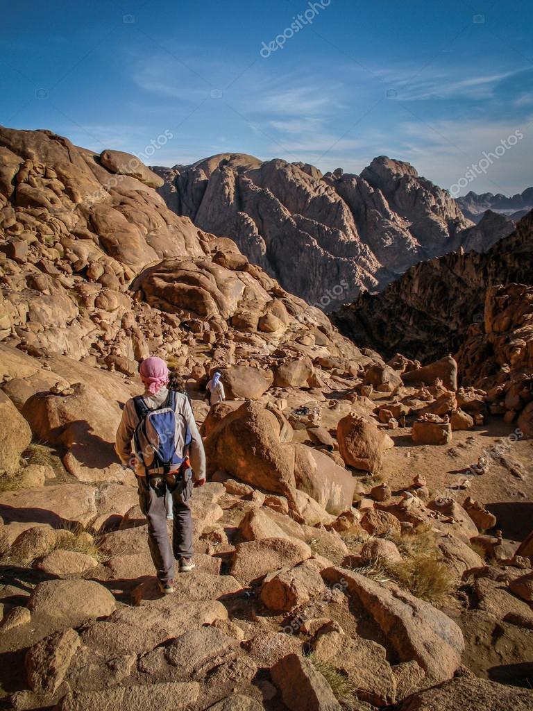 Hikers Walking Down Sacred Mount Sinai in Egypt