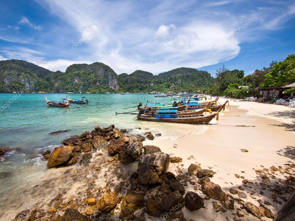 Long-tail Boats on the Shore of Ko Phi Phi Island, Thailand
