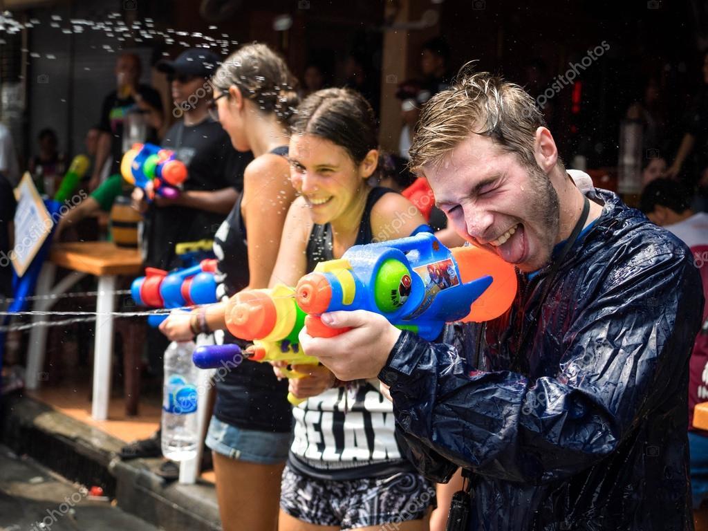 Tourists Celebrating Songkran in Bangkok, Thailand