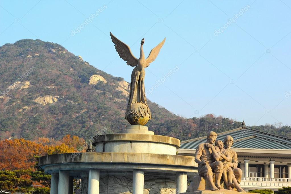 monument in front of south korean presidential palace, the blue