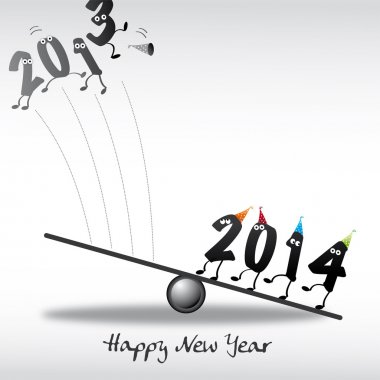 2014 Happy New Year Greeting Card, numeral, year in and year out