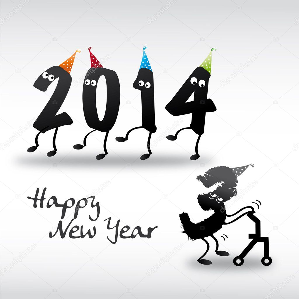 2014 Happy New Year Greeting Card, year in and year out — Stock ...