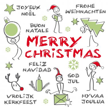 Merry christmas multilingual, green colour
