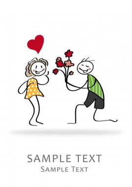 Love, Wedding, stick figures, invitation Greeting Card