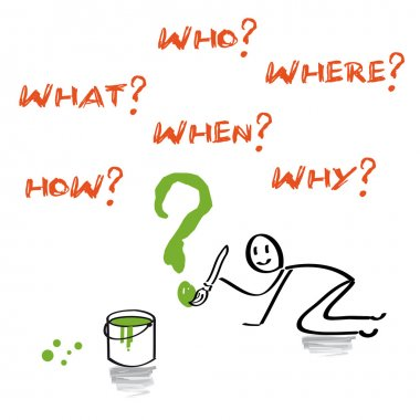Questions, what, who, where, when, how, why english