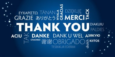 Thank You Word Cloud in different languages. Blue background stock vector