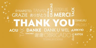 Thank You Word Cloud in different languages. Golden Background clip art vector