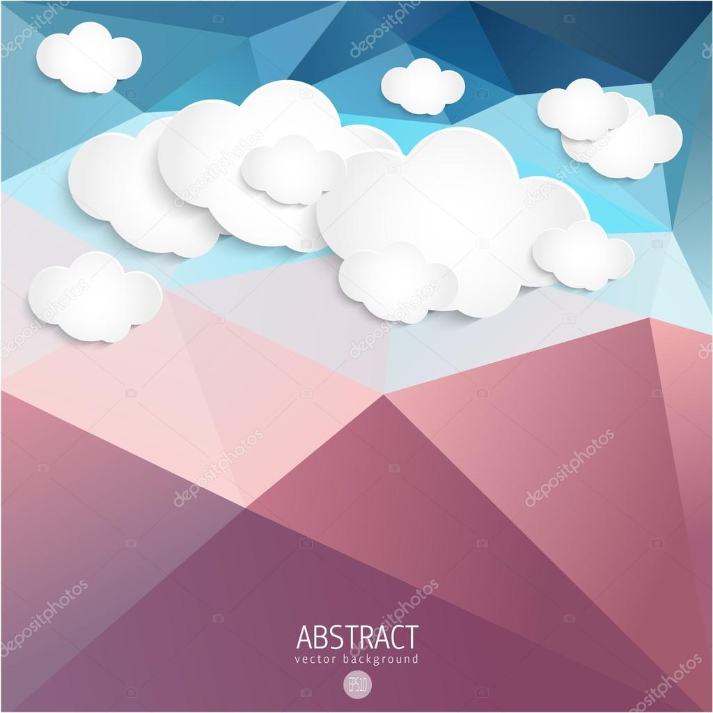 Abstract Clouds with geometrical triangle background