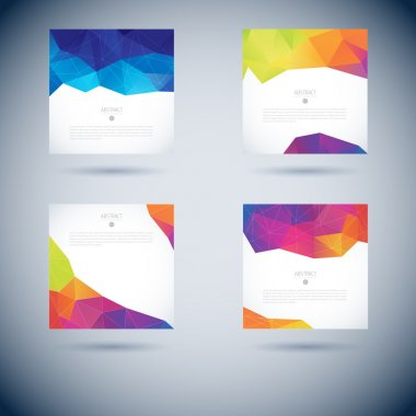Set of Abstract 3D geometric colorful background