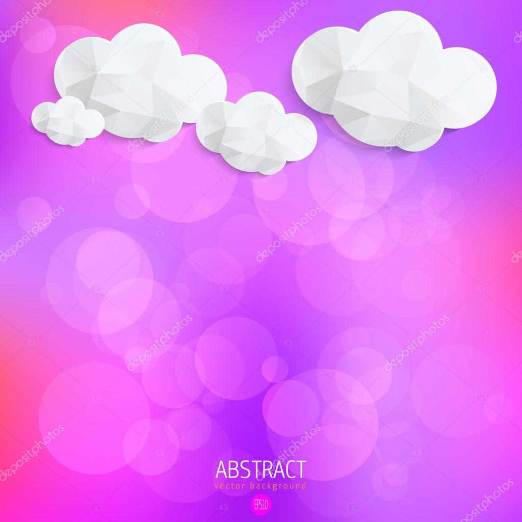 Abstract vector background with 3D paper clouds
