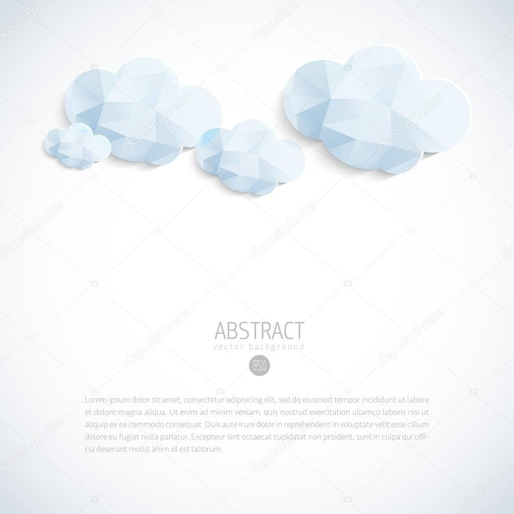 Abstract 3D geometric vector background with clouds
