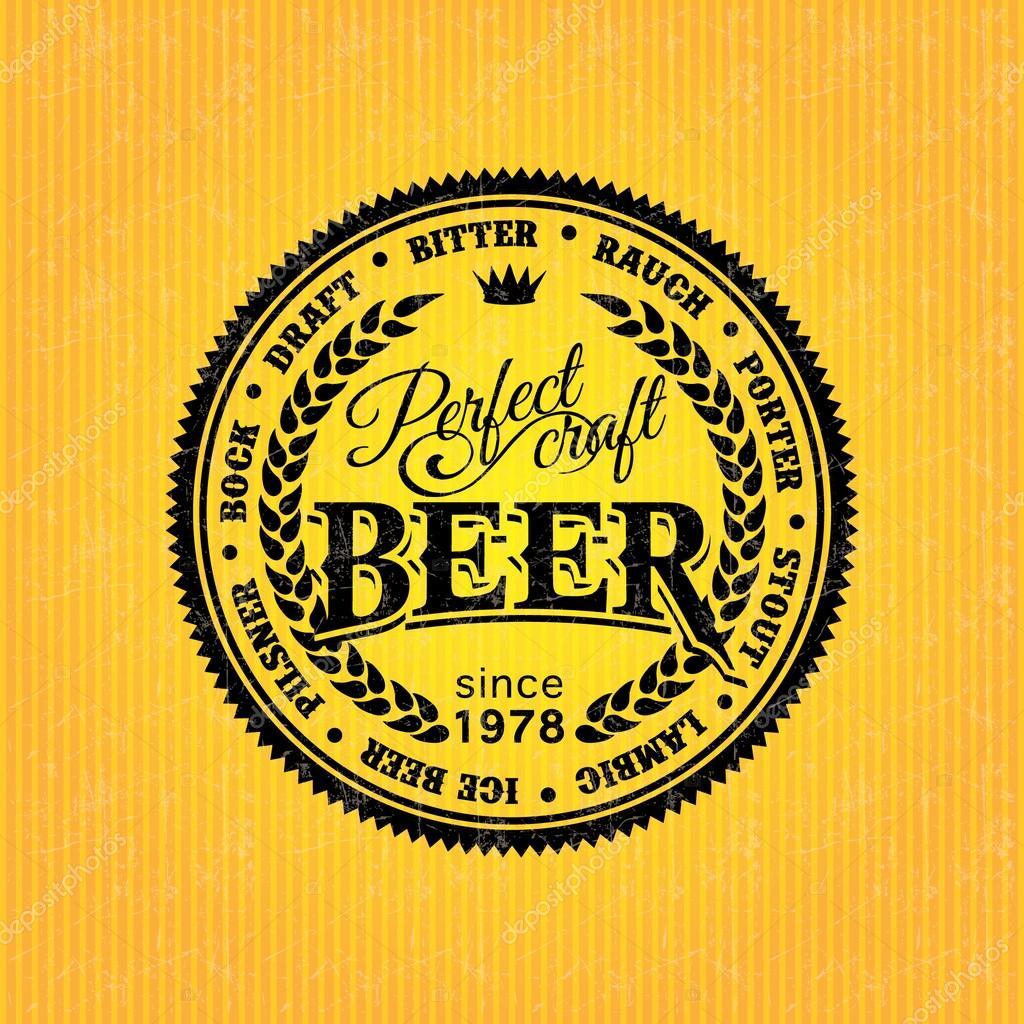 Beer Label Design Template Stock Vector