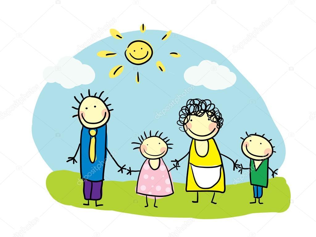 Familia Feliz De Dibujos Animados