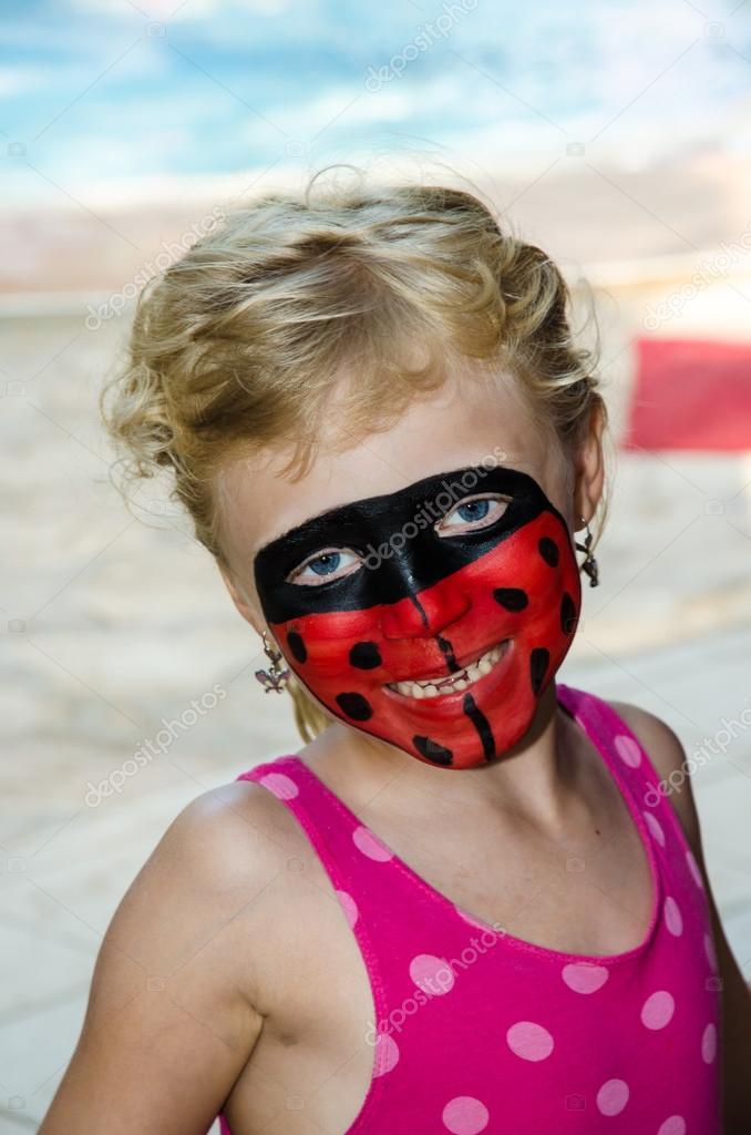 Ladybug Face Painting Stock Photo C Katarinagondova 49755323
