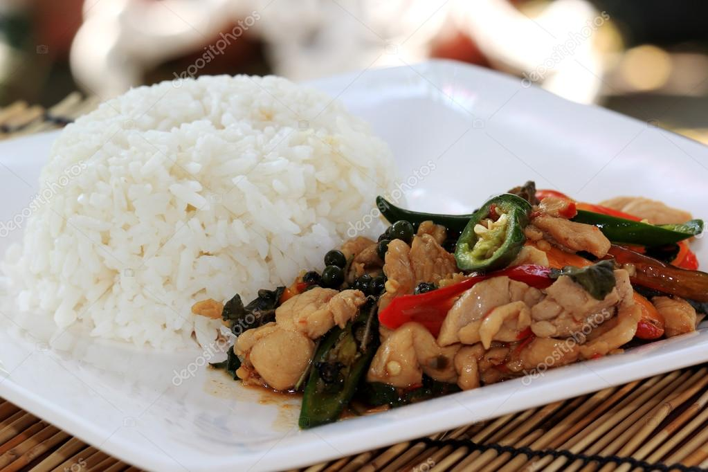 Stir Fried Chicken with Holy Basil and steamed rice (Krapao Gai)