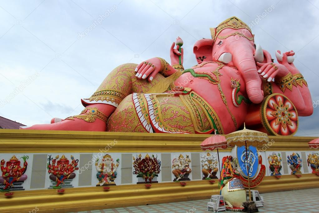 Big Pink statue of Hindu god Ganesh