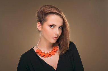 Fashion Woman Profile Portrait. Vogue Style Model. Stylish Makeup. Beauty Girl with Black Hair