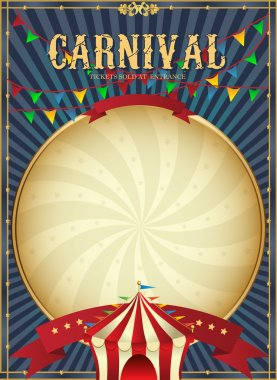 Vintage carnival. Circus poster template. Vector illustration.