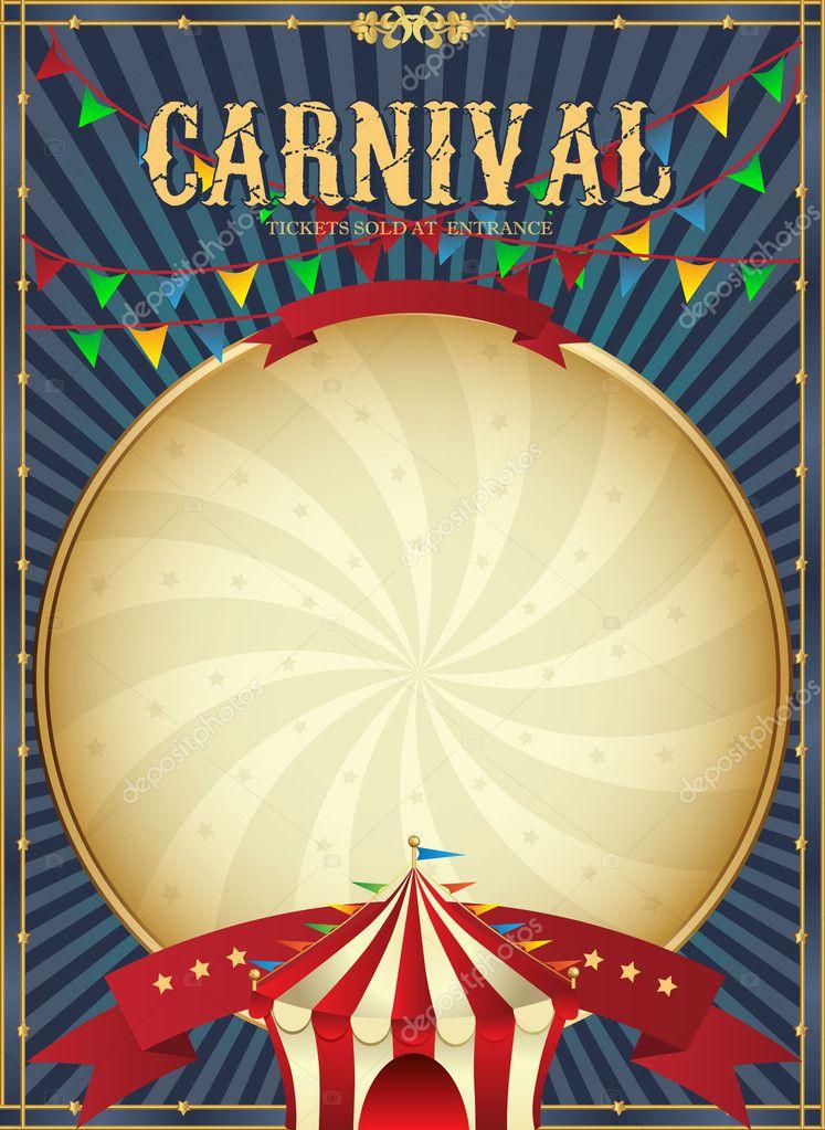 vintage carnival circus poster template vector illustration stock vector tsyhanova 44426845. Black Bedroom Furniture Sets. Home Design Ideas