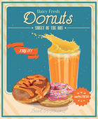 Fotografie Banner with donuts and juice on the vintage background
