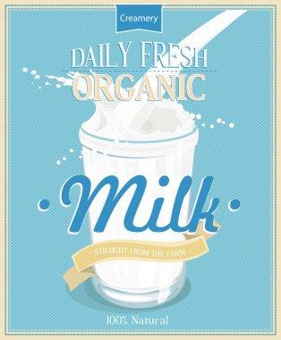 Vector poster with milk. Glass of milk. Pouring Milk Splash, Milk wave, blue background, vector.