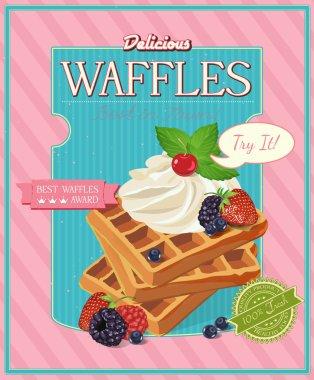 Vintage waffles poster design